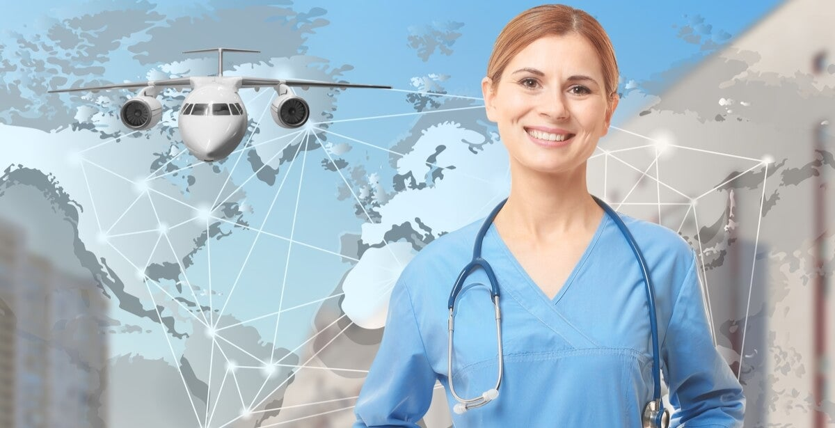 Nurse in blue scrubs standing in front of a background featuring an airplane and a map of the world