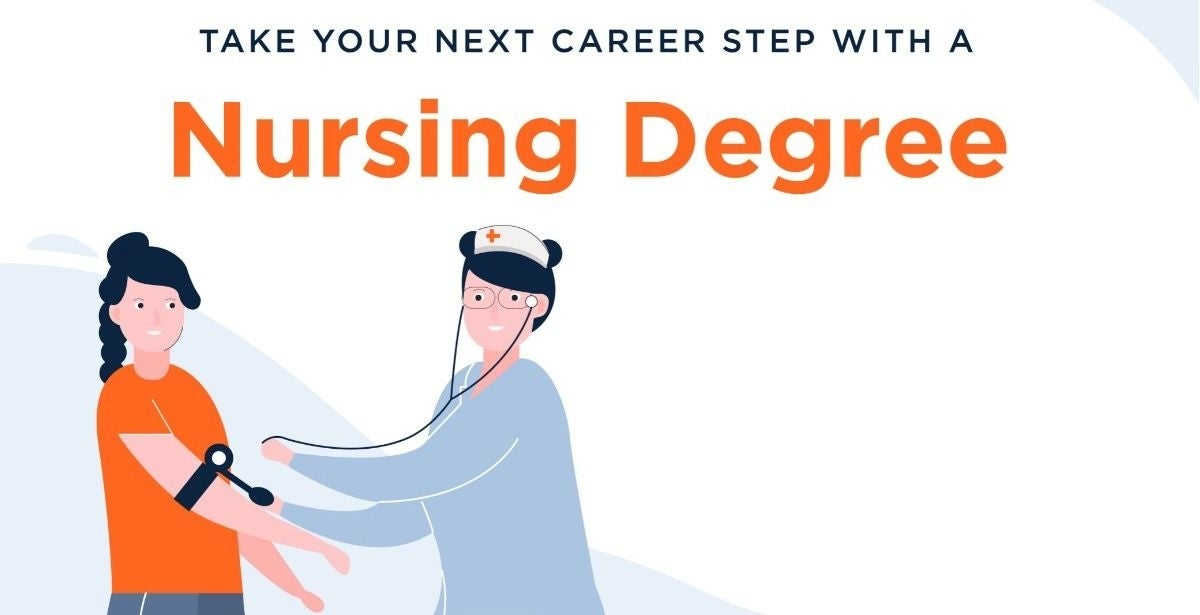 """Graphic of nurse taking patient's blood pressure with """"Take Your Next Career Step with a Nursing Degree"""" as the heading"""